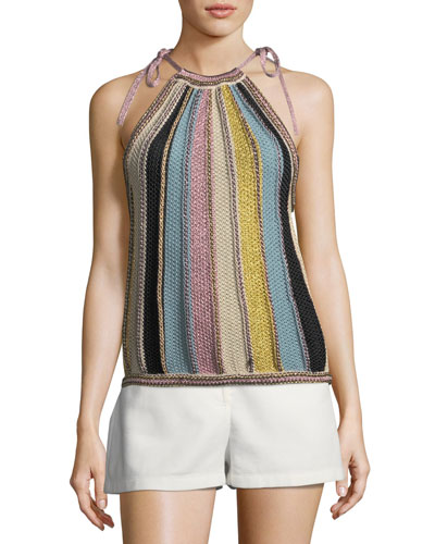 Vertical Striped Crochet Top
