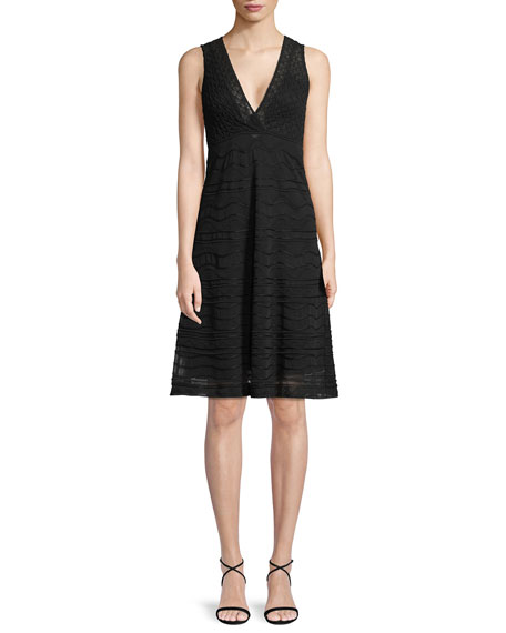 Solid Rib Stitch Deep V-Neck Dress
