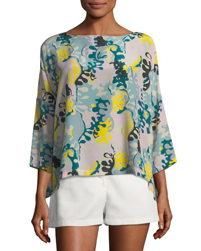 Seaweed-Print Silk Top