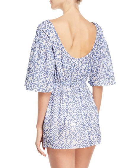 Lynda Boat-Neck Elbow-Sleeve Swim Coverup