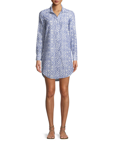 Jessica Button-Front Long-Sleeve Printed Coverup