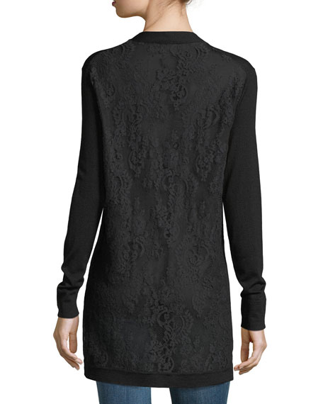 Chantilly Lace-Back Wool Open-Front Cardigan