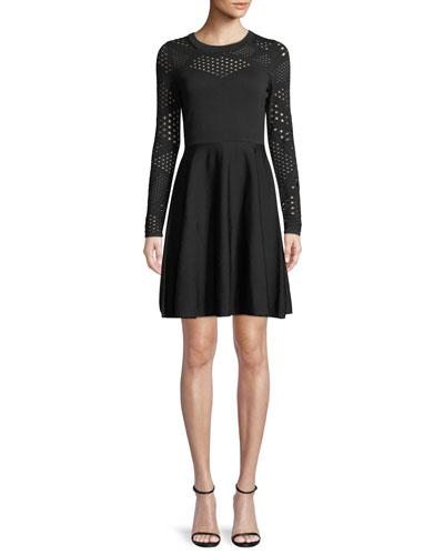 Pointelle Fracture Cutout Flare Dress
