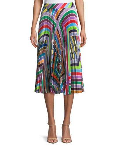 Rainbow Stripe Pleated Skirt