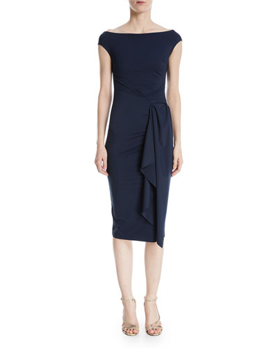 Aletha Side-Wrap Sheath Dress