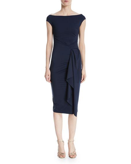 Aletha Side-Wrap Sheath Dress