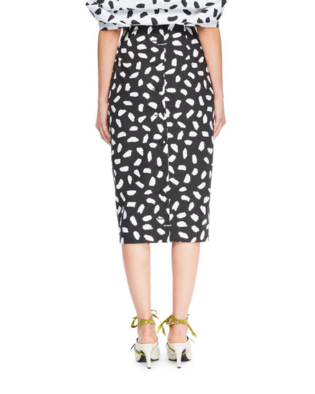 Button-Back Dot-Print Straight Midi Skirt