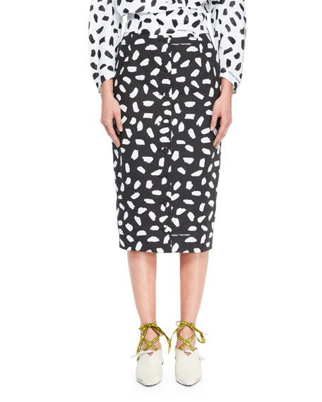 Button-Back Dot-Print Straight Midi Skirt