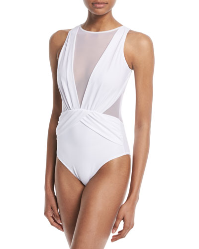 Elvira Deep-V Mesh One-Piece Swimsuit