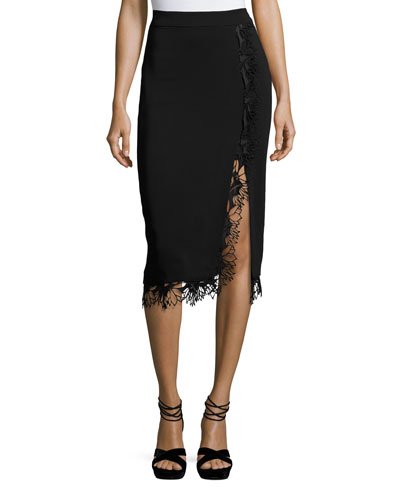 Holland Midi Straight Skirt with Lace Trim