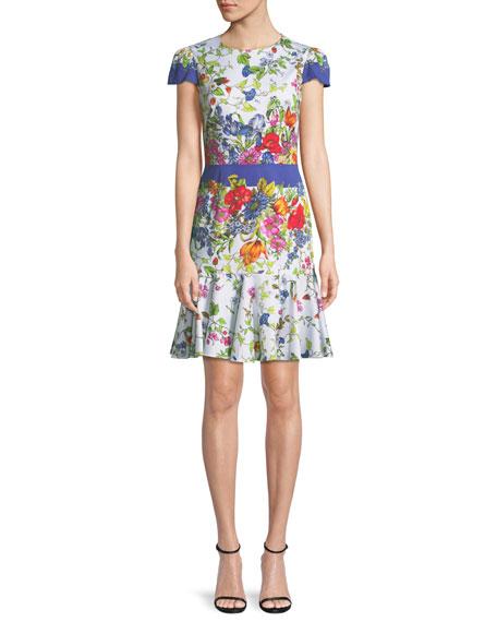 Milly Karissa Floral-Print Short-Sleeve Cotton Dress