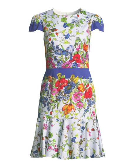 Karissa Floral-Print Short-Sleeve Cotton Dress