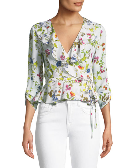 Ruffled Floral-Print Wrap Top
