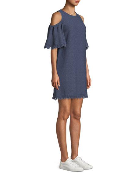 Denim-Knit Cold-Shoulder Fringe Dress