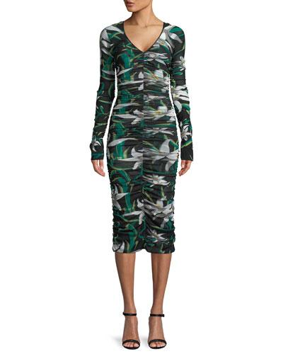 Long-Sleeve V-Neck Ruched Mesh Midi Dress