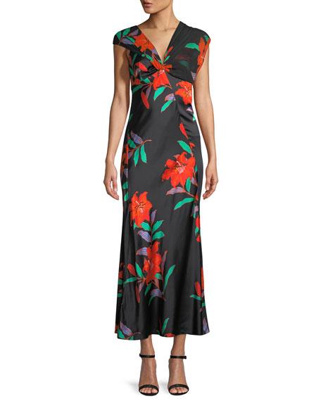 52525298562 Diane von Furstenberg Floral Silk Asymmetric-Sleeve Knotted Dress
