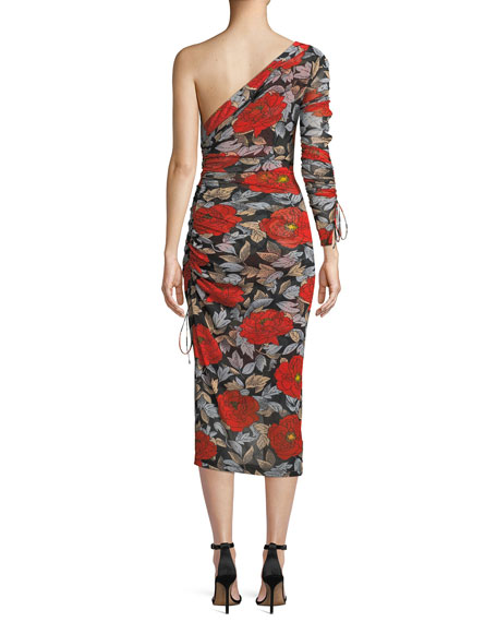 Floral Ruched One-Sleeve Cocktail Dress