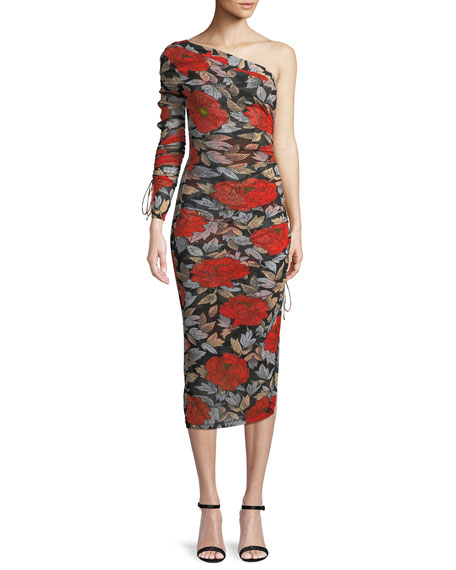 Image 1 of 1: Floral Ruched One-Sleeve Cocktail Dress