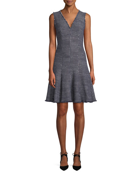 27a709a5ca29 Rebecca Taylor Sleeveless V-Neck Fit-and-Flare Tweed Dress