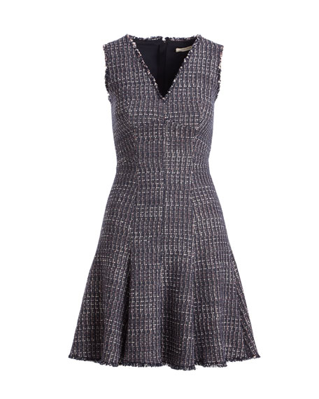 Sleeveless V-Neck Fit-and-Flare Tweed Dress
