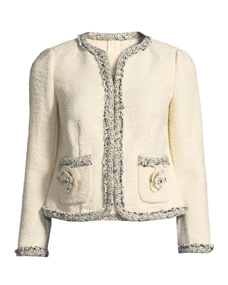 Braided Tweed Jacket with Floral Appliques