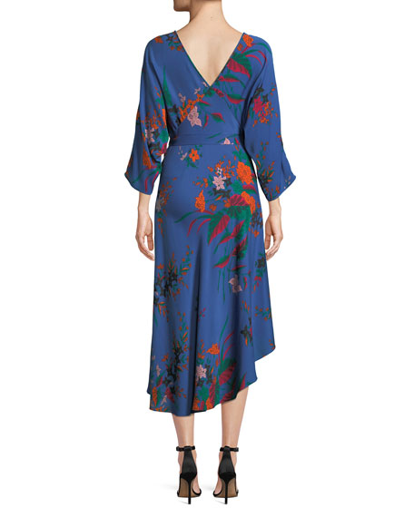 Long-Sleeve Asymmetric-Hem Floral-Print Silk Wrap Dress