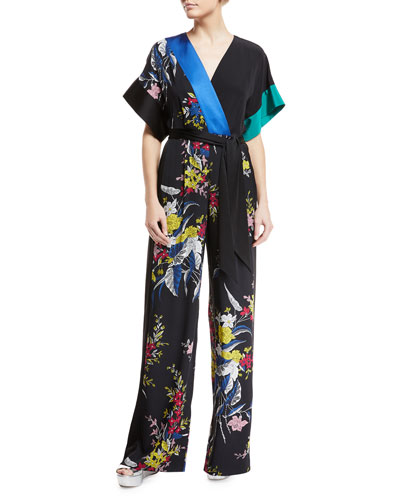 Short-Sleeve Floral-Print Wide-Leg Wrap Jumpsuit