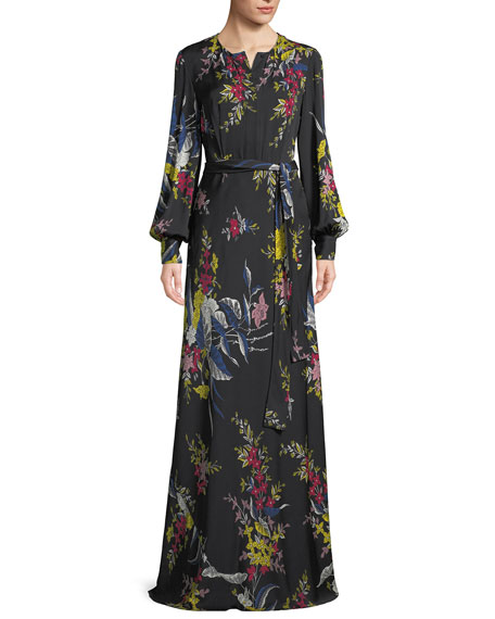 Belted Long-Sleeve Floral-Print Silk Maxi Dress
