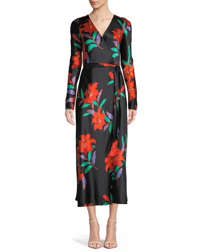 Long-Sleeve Floral Silk Wrap Dress