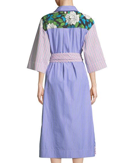 Multipattern 3/4-Sleeve Belted Shirtdress