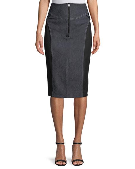 2bd0ab809 Diane von Furstenberg High-Waist Zip-Front Knee-Length Jean Skirt