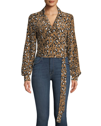 V-Neck Animal Wrap Silk Blouse
