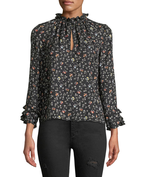 Long-Sleeve Vine-Print Silk Ruffle Top