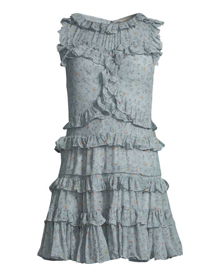 Sleeveless Floral-Print Ruffle Mini Dress