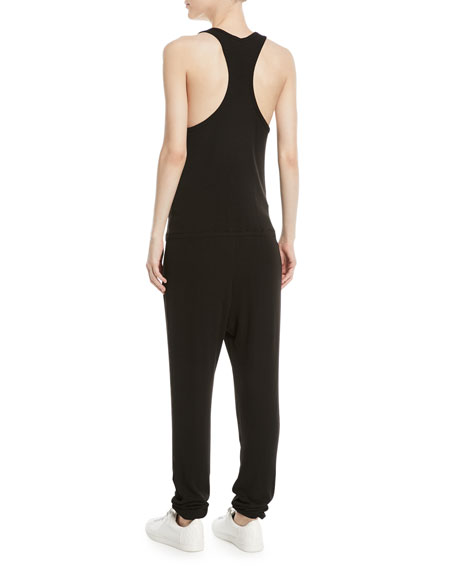 Sleeveless Racerback Rib-Knit Jumpsuit