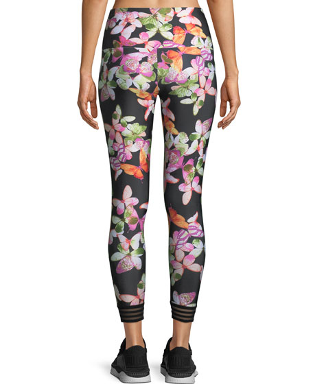 Ritz Butterfly-Print 7/8 Leggings with Contrast Cuff