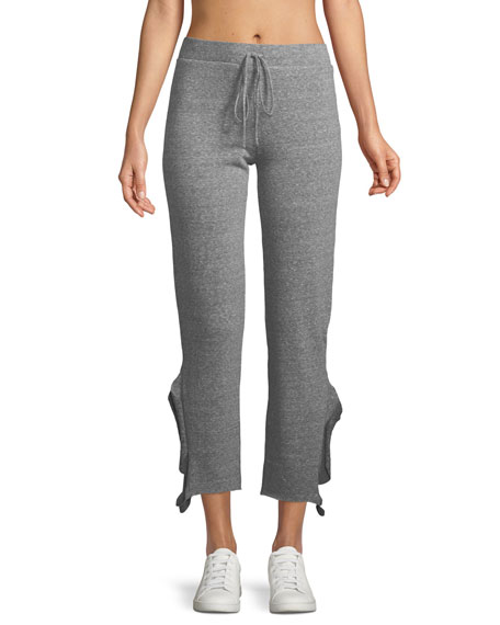 Crop Heathered Straight-Leg Ruffle Pants