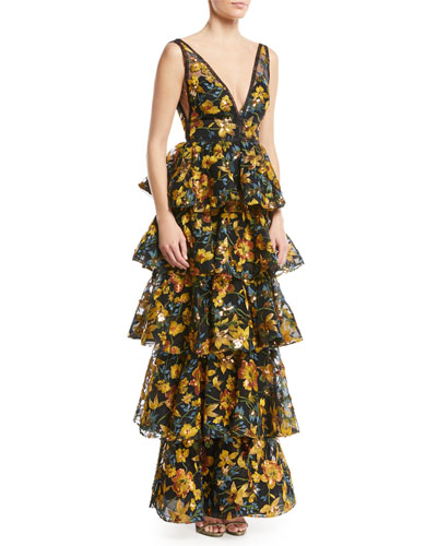 Embroidered Multitiered V-Neck Gown