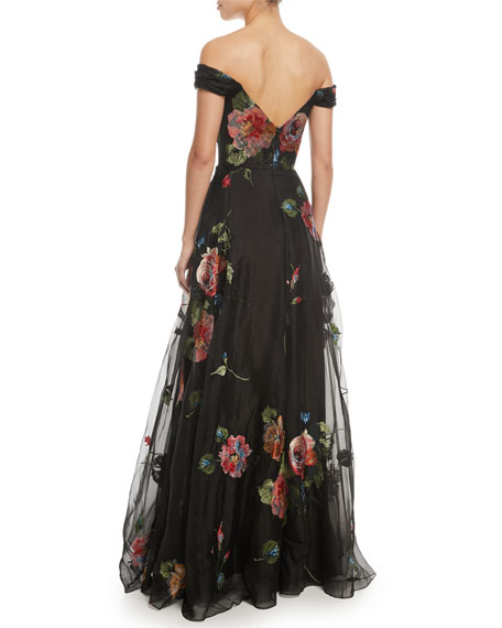 b679d0a035 Marchesa Notte Off-the-Shoulder Embroidered Silk Organza Ball Gown