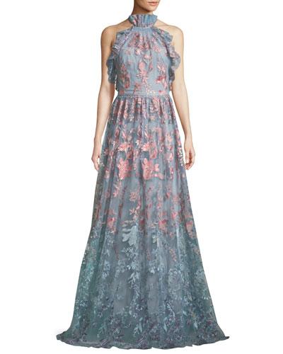 Ombré Floral Embroidered Halter Gown
