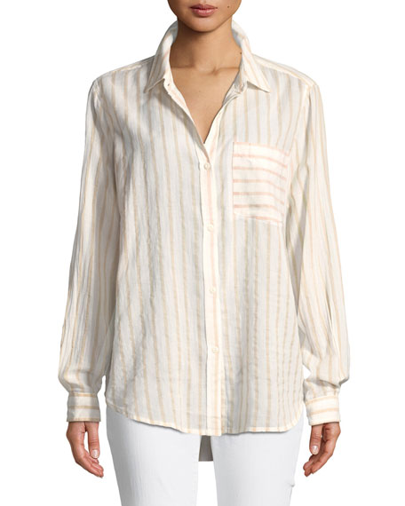 The Boyfriend Long-Sleeve Button-Front Striped Cotton Shirt