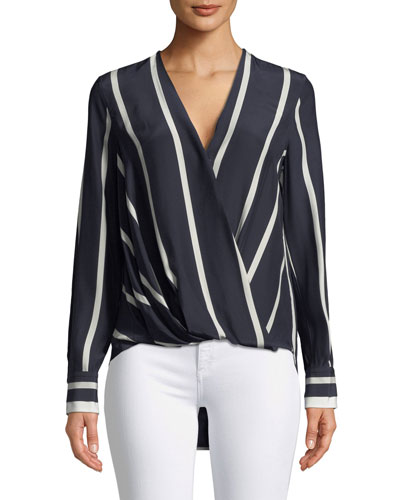 Victor Striped Draped Silk Blouse