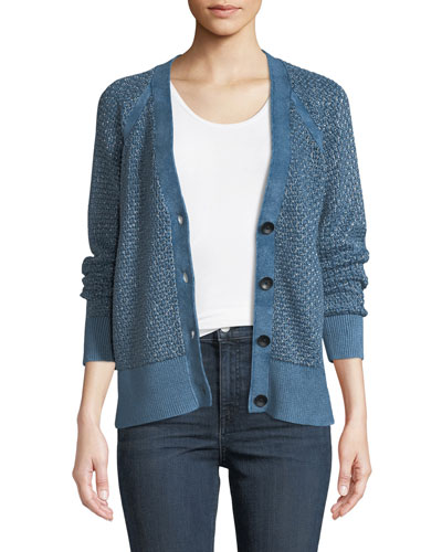 Kyra V-Neck Button-Front Metallic Knit Cardigan