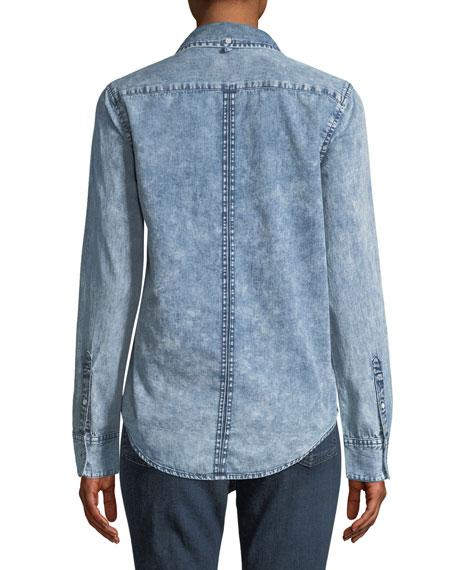 0fa15d5d5a5 rag   bone JEAN Bleachout Classic Long-Sleeve Button-Down Denim Shirt