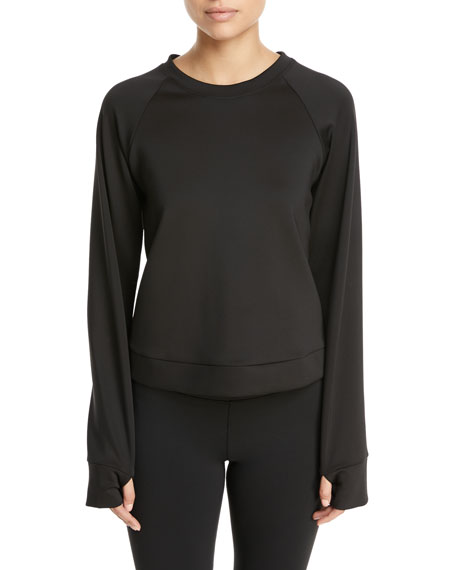 Crown Crewneck Thumbhole Pullover Sweatshirt