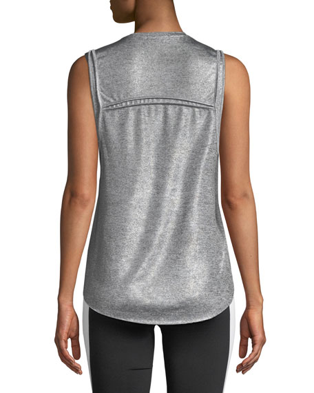 Press Crewneck Metallic-Knit Performance Tank