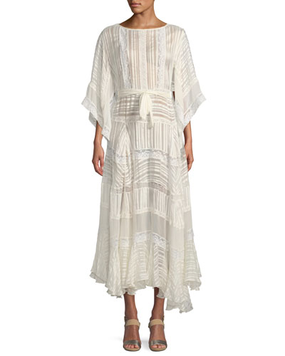 Breeze Veil Tonal-Striped Silk Maxi Dress
