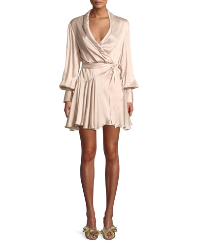 Silk Wrap Blouson-Sleeve Mini Dress