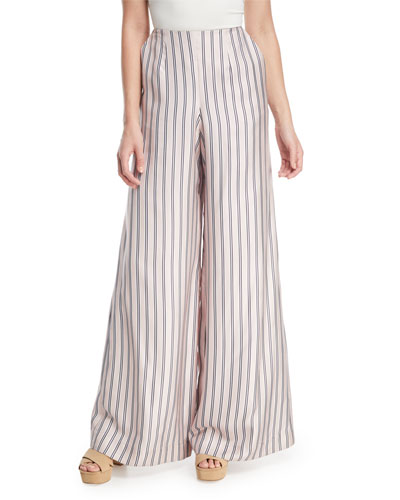 Sunny Wide-Leg Striped Satin Pants