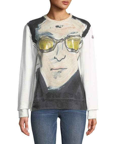 Artistic Face-Print Long-Sleeve Top